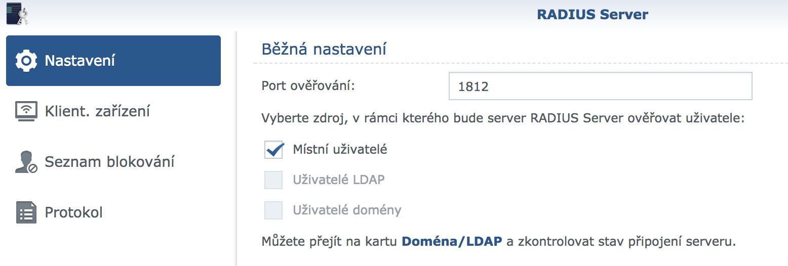 RADIUS server na Synology NAS